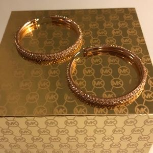 Michael Kors Rose Gold Brilliance Hoop Earrings